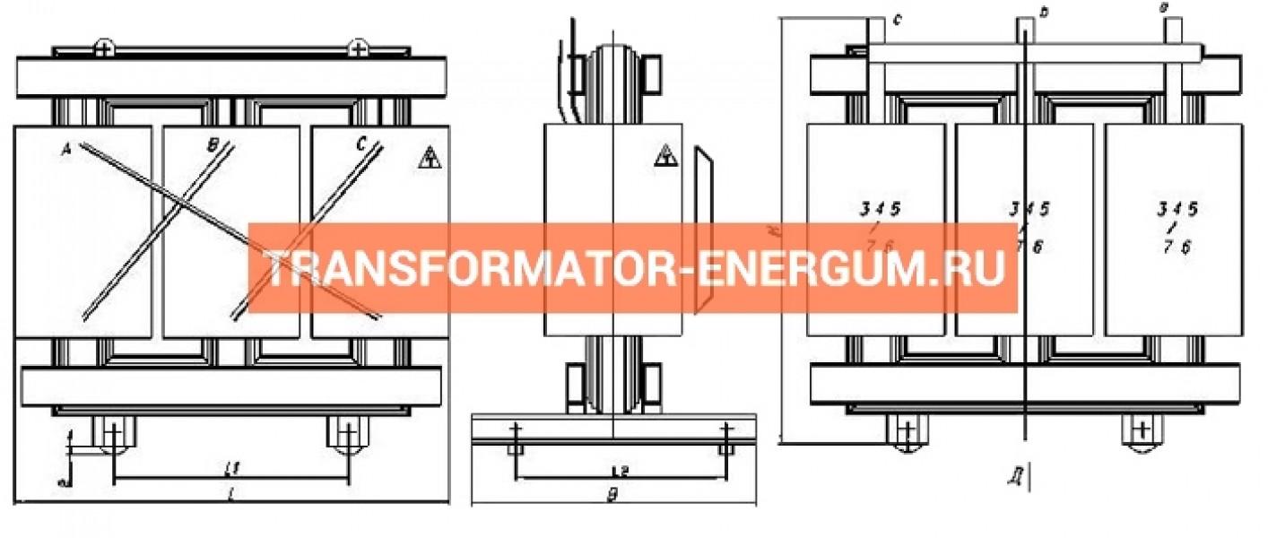 Трансформатор ТСГЛ 1000/6/0,4 фото чертежи от завода производителя