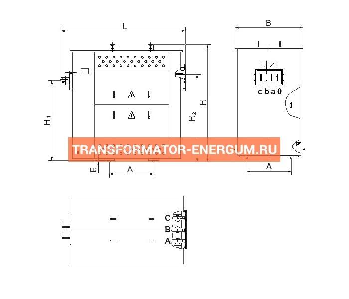 Трансформатор ТСЗГЛФ 1000/6/0,4 фото чертежи от завода производителя