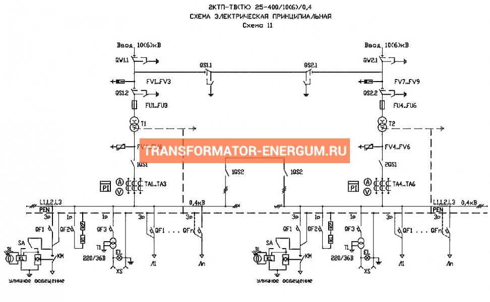 Подстанция 2КТП-ТК 400/6/0,4 (КВа) Тупиковая Кабельная фото чертежи завода производителя