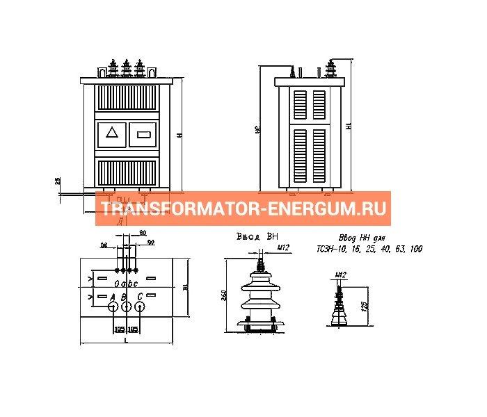 Трансформатор ТСЗН 1250/10/0,4 фото чертежи завода производителя