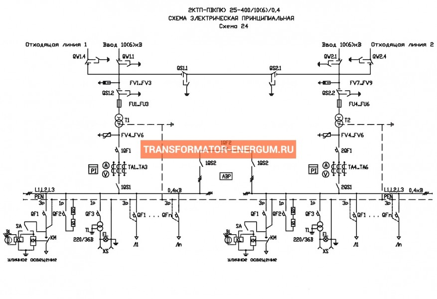 Подстанция 2КТП-ПВ 25/10/0,4 (КВа) Проходная Воздушная фото чертежи завода производителя