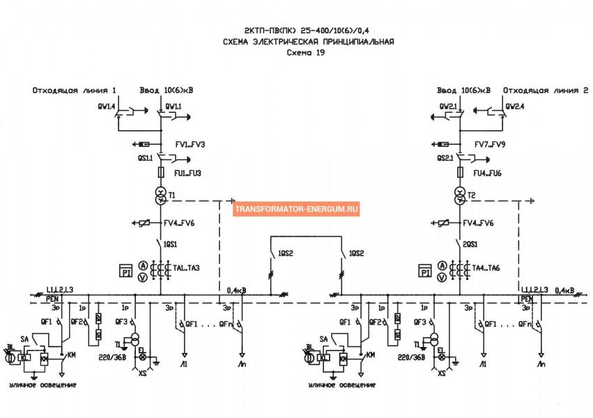 Подстанция 2КТП-ПВ 400/10/0,4 (КВа) Проходная Воздушная фото чертежи завода производителя