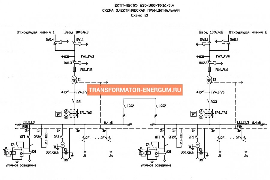 Подстанция 2КТП-ПВ 630/10/0,4 (КВа) Проходная Воздушная фото чертежи завода производителя