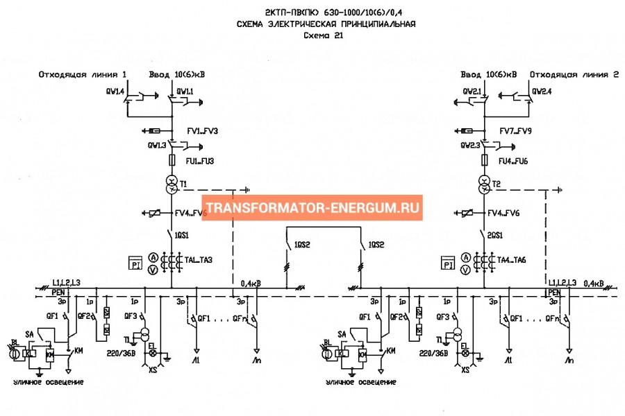 Подстанция 2КТП-ПВ 1000/10/0,4 (КВа) Проходная Воздушная фото чертежи завода производителя